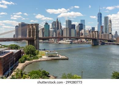 New York City downtown buildings skyline Brooklyn Bridge
