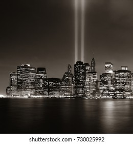 New York City downtown and september 11 tribute at night in bw