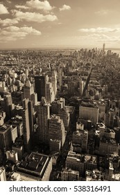 New York City downtown skyline view.