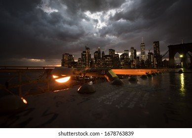 New York city in the dramatic scene with some light of hope