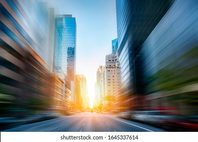 New York City early morning, motion blur