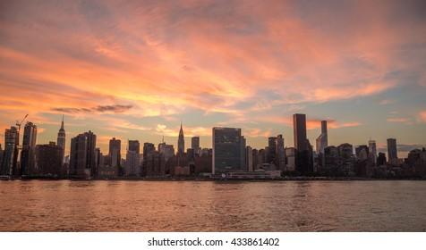 New York City evening sunset skyline orange sky