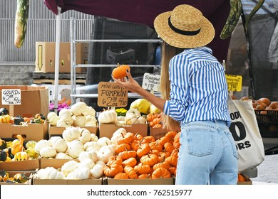 New York City - Fall 2017: Women looking at mini pumpkins at the farmer's market