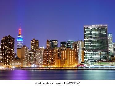New York city famed skyline at Midtown Manhattan