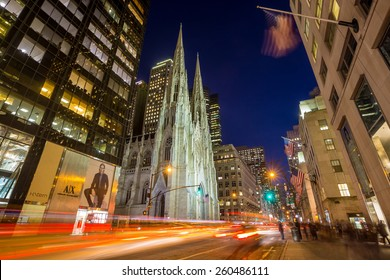 NEW YORK CITY - FEB 11: St. Patrick's Cathedral in New York City on February 11, 2015  One of the 5 boroughs of New York City, the smallest but also the most populated.