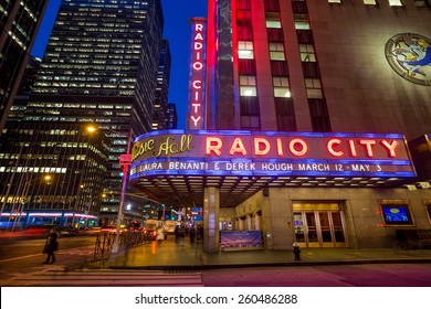 NEW YORK CITY - FEB 11: Radio City Music Hall at Rockefeller Center February 11, 2015 in New York, NY. Completed in 1932, the famous music hall was declared a city landmark in 1978.