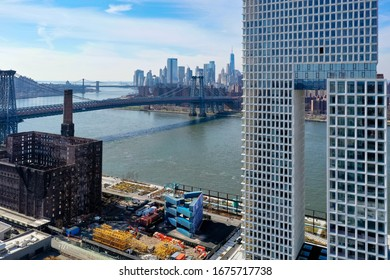 New York City - Feb 17, 2020: Building development in the Williamsburg neighborhood in Brooklyn, New York.