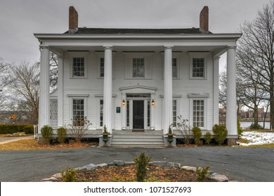 New York City - Feb 19, 2018: Captain Henry Hogg Biddle's grand mansion at 70 Satterlee Street in Staten Island, New York City. It was built on the water's edge between 1840-45 in a Dutch Colonial