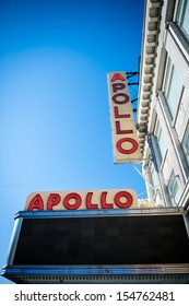 NEW YORK CITY - FEB 6: Sign outside of Apollo Theater on February 6, 2012 in Harlem, NYC. It's one of the oldest and most famous music halls and listed on the National Register of Historic Places.