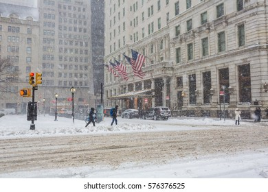 NEW YORK CITY - Feb 9: Grand Army Plaza in New York on February; 2017. Grand Army Plaza lies at the intersection of Central Park South and Fifth Avenue in front of the Plaza Hotel in Manhattan.