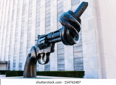 NEW YORK CITY - FEBRUARY 06: Non Violence is a sculpture by Fredrik Reutersward at the United Nations Headquarters in February 06, 2012 in New York, New York.