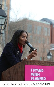 NEW YORK CITY - FEBRUARY 11 2017: Several hundred Planned Parenthood supporters rallied in Washington Square Park to protest against proposed cuts to the service. Entrepreneur Sharron Cooks