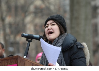 NEW YORK CITY - FEBRUARY 11 2017: Several hundred Planned Parenthood supporters rallied in Washington Square Park to protest against proposed cuts to the service