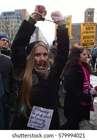 NEW YORK CITY - FEBRUARY 11 2017: Several hundred protesters gathered in Washington Square Park to voice support for immigrants & Muslims in light of Trump's travel ban.