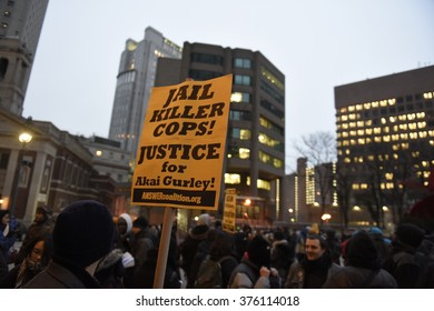 NEW YORK CITY - FEBRUARY 12 2016: Several dozen activists representing Black Lives Matter, Picture The Homeless & NY Revolutionary Club rallied at 1 Police Plaza to mark the conviction of Peter Liang