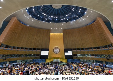 New York City - February 14, 2018: United Nations General Assembly Hall in Manhattan, New York City. The General Assembly Hall is the largest room in the UN with seating capacity over 1,800 people.