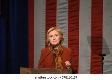 NEW YORK CITY - FEBRUARY 16 2016: Democratic presidential candidate Hillary Rodham Clinton appeared at Shomburg Center in Harlem to outline her vision for America's future.