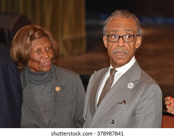 NEW YORK CITY - FEBRUARY 16 2016: Democratic presidential candidate Hillary Clinton appeared at Shomburg Center in Harlem to outline her vision for America's future. NAACP's Hazel Duke & Al Sharpton