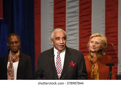 NEW YORK CITY - FEBRUARY 16 2016: Democratic presidential candidate Hillary Clinton appeared Shomburg Center to outline a vision for America's future. Charlie Rangel, Chirlane McCray, Hillary Clinton