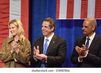 NEW YORK CITY - FEBRUARY 16 2016: Democratic presidential candidate Hillary Clinton appeared at Shomburg Center to outline her vision for America's future. Andrew Cuomo, Sandra Lee, Eric Holder