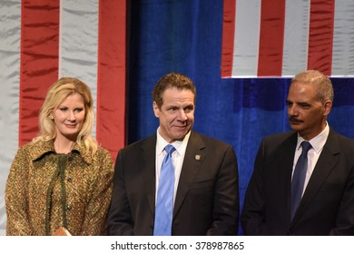 NEW YORK CITY - FEBRUARY 16 2016: Democratic presidential candidate Hillary Clinton appeared at Shomburg Center to outline her vision for America's future. Sandra Lee, Andrew Cuomo, Eric Holder