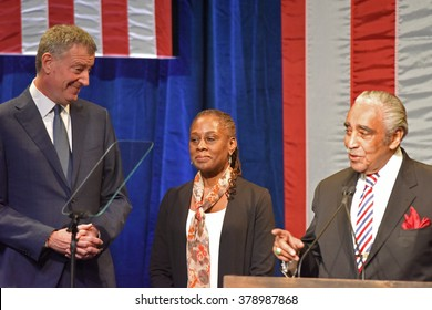 NEW YORK CITY - FEBRUARY 16 2016: Democratic presidential candidate Hillary Clinton appeared at Shomburg Center to outline vision for America's future. Bill de Blasio, Charlene McCray, Charlie Rangel