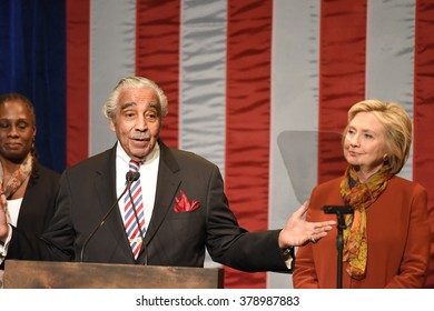 NEW YORK CITY - FEBRUARY 16 2016: Democratic presidential candidate Hillary Clinton appeared at Shomburg Center in Harlem to outline her vision for America's future. US representative Charlie Rangel