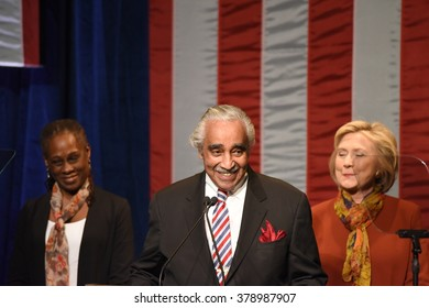 NEW YORK CITY - FEBRUARY 16 2016: Democratic presidential candidate Hillary Clinton appeared at Shomburg Center to outline her vision for the future. Chirlane McCray, Charlie Rangel, Hillary Clinton