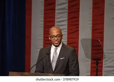 NEW YORK CITY - FEBRUARY 16 2016: Democratic presidential candidate Hillary Clinton appeared at Shomburg Center  to outline her vision for America's future. Shomburg director Dr Khalil Gibran Muhammad