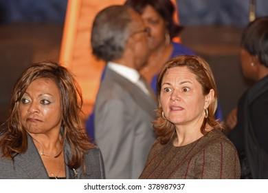 NEW YORK CITY - FEBRUARY 16 2016: Democratic presidential candidate Hillary Clinton appeared at Shomburg Center to outline her vision for America's future. City council speaker Melissa Mark-Viverito
