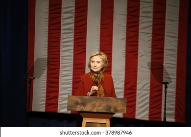 NEW YORK CITY - FEBRUARY 16 2016: Democratic presidential candidate Hillary Clinton appeared at Shomburg Center in Harlem to outline her vision for America's future.