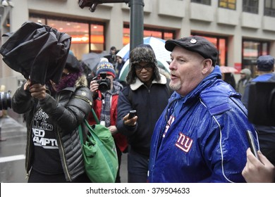 NEW YORK CITY - FEBRUARY 16 2016: Several dozen activists associated with Black Lives Matter gathered before NFL headquarters to counter a planned Boycott Beyonce rally