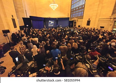 NEW YORK CITY - FEBRUARY 16 2017: Former Secretary of State Hillary Clinton presided over the unveiling of a USPS stamp honoring designer Oscar de la Renta in Grand Central Terminal's Vanderbilt Hall