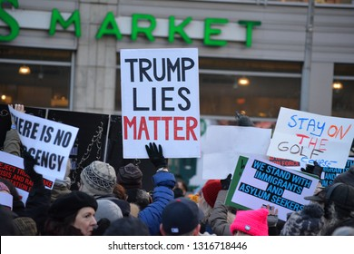 New York City, February 18 - Protesters at a rally against President Trump's National Emergency in Union Square in Manhattan.