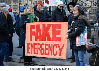 New York City, February 18, 2018 - People protesting President Trump's National Emergency in Union Square, Manhattan.