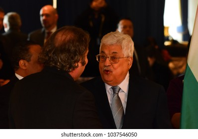 NEW YORK CITY - FEBRUARY 19 2018: Palestinian Authority President Mahmoud Abbas appear on hand with the rest of the Palestinian UN delegation. Abbas greets luminaries in UN lounge