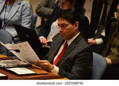 NEW YORK CITY - FEBRUARY 19 2018: Palestinian Authority President Mahmoud Abbas appear on hand with the rest of the Palestinian UN delegation. Israeli Representative Danny Danon