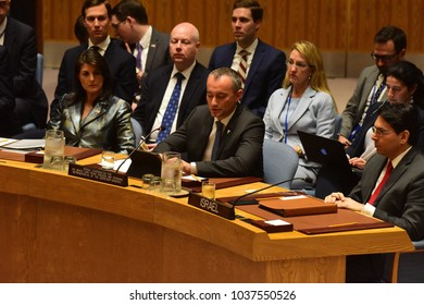 NEW YORK CITY - FEBRUARY 19 2018: Palestinian Authority President Mahmoud Abbas appear with the rest of the Palestinian UN delegation. Lt: Nikki Haley, Jared Kushner, Nicolay Mladenov, Danny Danon