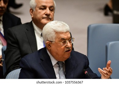 NEW YORK CITY - FEBRUARY 19 2018: Palestinian Authority President Mahmoud Abbas appear on hand with the rest of the Palestinian UN delegation.