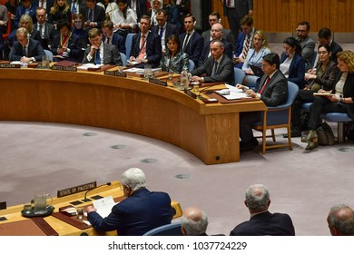 NEW YORK CITY - FEBRUARY 19 2018: Palestinian Authority President Mahmoud Abbas appear on hand with the rest of the Palestinian UN delegation. Abbas offers remarks in Security Council