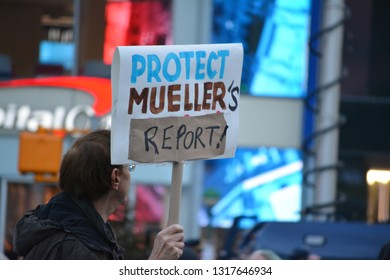New York City, February 19, 2019 - People protesting President Trump's National Emergency in Union Square, Manhattan.