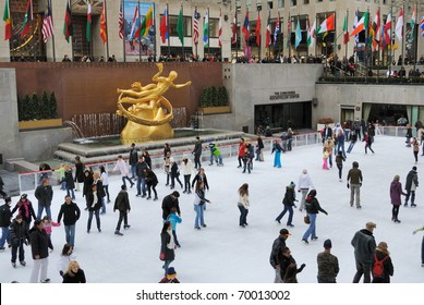 NEW YORK CITY - FEBRUARY 19: People enjoying Rockefeller Center Ice Skating Rink during the cold on February 19, 2010 in New York, New York.