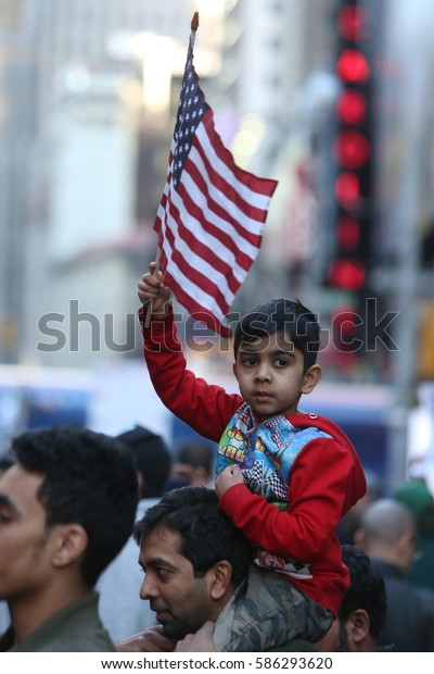"""NEW YORK CITY - FEBRUARY 19 2017: A crowd estimated at 10,000 joined NYC Mayor Bill de Blasio in declaring: """"Today I am a Muslim"""" during a rally in Times Square."""