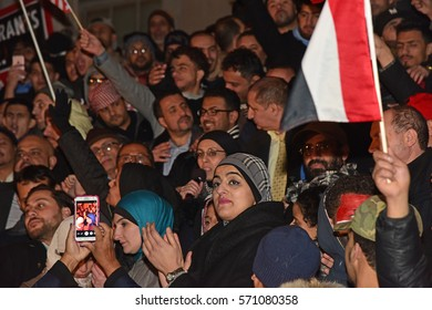 NEW YORK CITY - FEBRUARY 2 2017: Thousands of Yemeni bodega owners closed their stores & rallied with supporters by Borough Hall to oppose President Trump's immigration ban on Yemen.