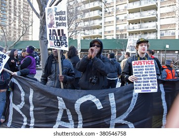 NEW YORK CITY - FEBRUARY 20 2016: thousands filled Cadman Plaza, Brooklyn, in support of NYPD officer Peter Liang recently convicted in the death of Akai Gurley while others counter demonstrated.