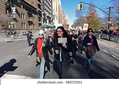 NEW YORK CITY - FEBRUARY 20 2017: More than ten thousand rallied along Central Park for a Not My Presidents Day event opposing the Trump Administration