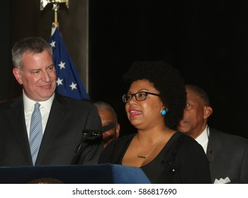 NEW YORK CITY - FEBRUARY 23 2017: Mayor de Blasio & first lady Chirlane McCray hosted a celebration of Black History Month at the American Museum of Natural History