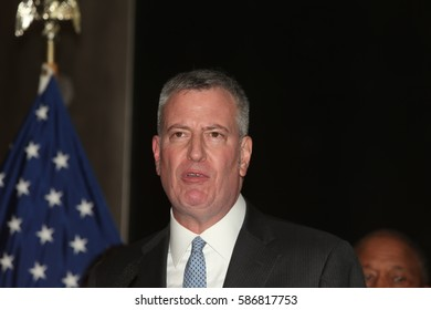 NEW YORK CITY - FEBRUARY 23 2017: Mayor de Blasio hosted a celebration of Black History Month at the American Museum of Natural History