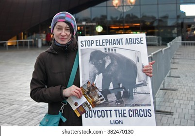 NEW YORK CITY - FEBRUARY 25 2016: Animal care activists gathered in front of Barclay's Center to protest the Ringling Brothers' circus against the circus use and treatment of animals in the show.