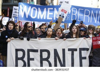 NEW YORK CITY - FEBRUARY 27 2016: Hundreds of New Yorkers gathered in Union Square Park to rally and march to Zuccotti Park on behalf of Democratic presidential candidate Bernie Sanders.